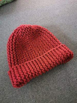 H&M Cappello a maglia rosso scuro-carminio