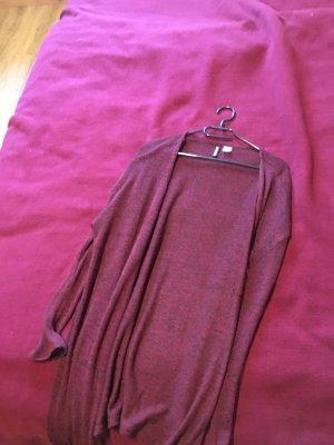 H&M Basic Cappotto a maglia nero-bordeaux