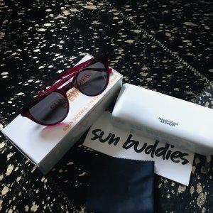 Okrągłe okulary przeciwsłoneczne czerwony neonowy-ciemnoszary