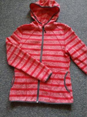 rote Übergangsjacke mit Kapuze - gestreift - Größe 40/42 - Damen