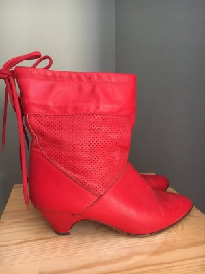 Vintage Slouch Booties red leather