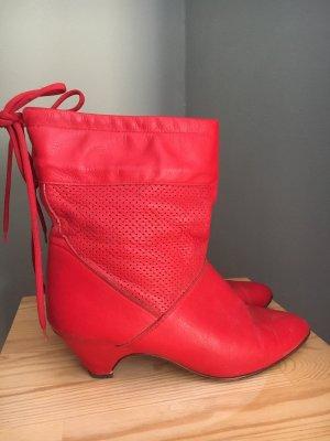 Rote Vintage Leder Slouch-Stiefelette