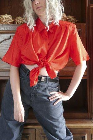 Rote Vintage Retro kurzarm Bluse Kunstseide Oversized L 90er 80er