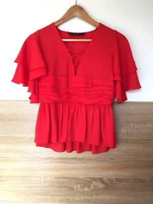 Rote Volants Schnürung Bluse von Zara, Gr. S (NEUw.)