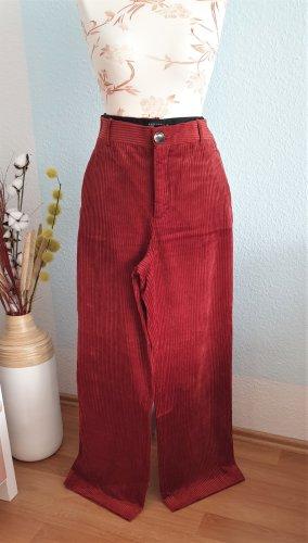 rote weite highwaist Cordhose von Zara