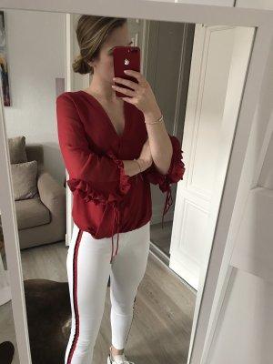 Rote Wickeloptik Bluse Bloggerstyle