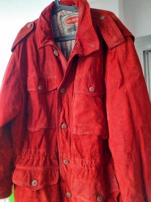 Rote Winter-Rauleder-Jacke, sehr warm, Leder (aufgeraut)