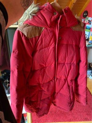 H&M L.O.G.G. Abrigo con capucha rojo oscuro-marrón claro