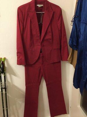 Zara Basic Pantalón de vestir rojo oscuro