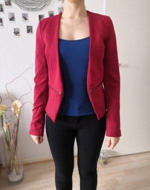 Roter Blazer mit dekorativen Reißverschlüssen