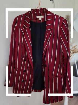H&M Blazer de esmoquin blanco-rojo oscuro