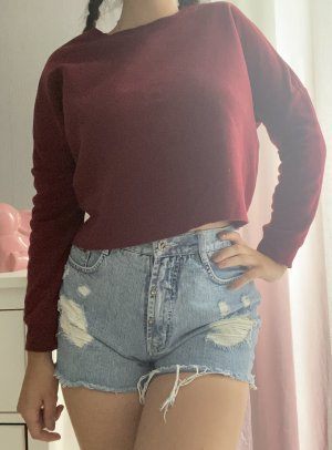 Roter Cropped Pullover