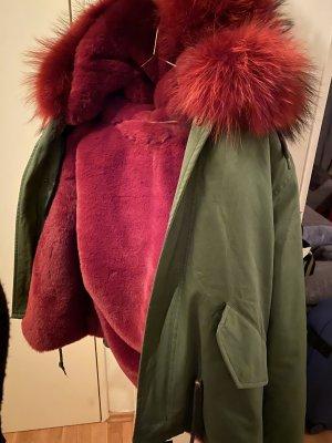 Veste de fourrure vert forêt-rouge carmin coton