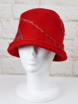 Cloche Hat brick red-dark red