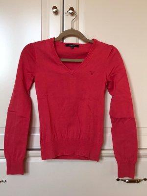 Gant Sweter z dekoltem w kształcie litery V czerwony Bawełna