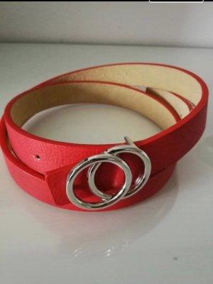 Lizza's Cintura in ecopelle argento-rosso