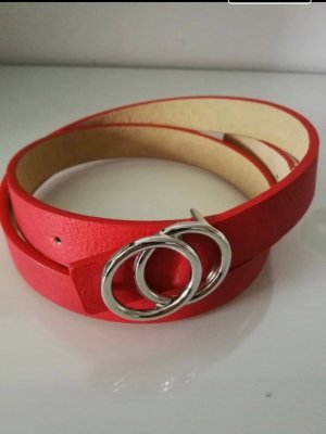 Lizza's Faux Leather Belt silver-colored-red