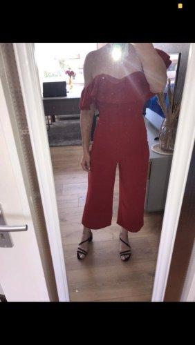Roter H&M Overall Jumpsuit elegant 7/8 lang mit Korsage Gr S/36