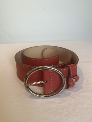 Roberto Bellido Leather Belt red-silver-colored leather