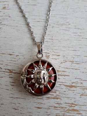 Roter Jaspis Vintage Halskette Sonne Mond Anhänger