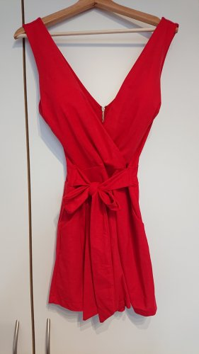 Pin Up Couture Jumpsuit red-brick red