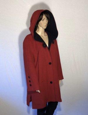 High Fashion Wool Wełniany płaszcz ciemnoczerwony-ceglasty Wełna