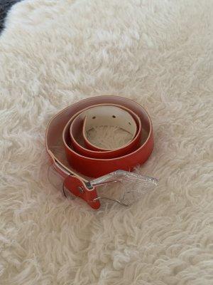 Missguided Cinturón de cuero de imitación rojo