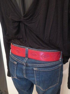 Pieces Cintura di pelle rosso mattone-argento Pelle