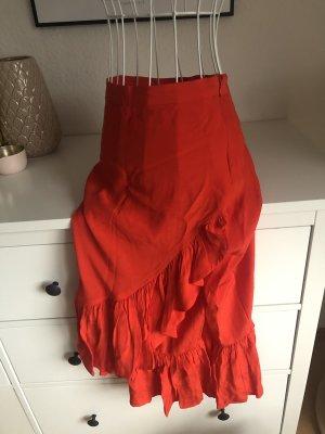 H&M Falda con volantes rojo