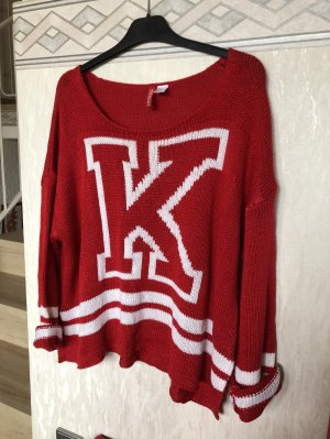 Roter Oversize Pullover Gr. S