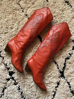Roter Pollini Lederstiefel