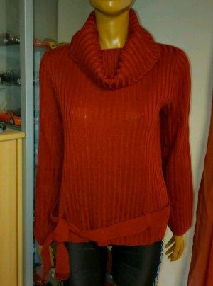 Maglione dolcevita rosso scuro