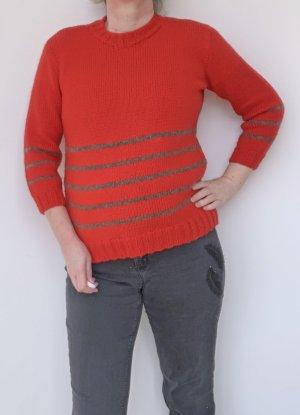 roter Pullover mit grauen Streifen, Handarbeit, Gr. 42