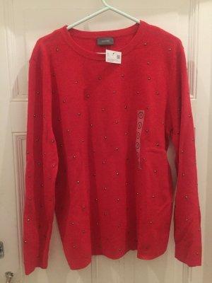 Roter Pullover mit Nieten, C&A, neu Gr S