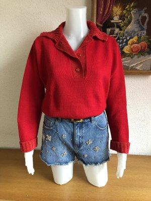 Roter Pullover Pulli Strickpullover Wolle-Kragen mit Knöpfen