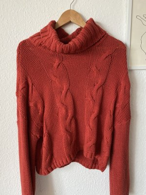 Jersey de punto grueso bermejo-rojo oscuro