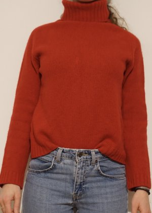 Roter Rollkragenpullover Sisley