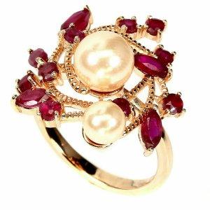 Roter Rubin 14K Roségold vergoldet 925 Sterling Silber Ring 55