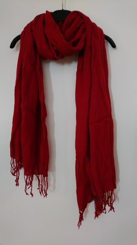 Giada Sjaal met franjes baksteenrood Viscose
