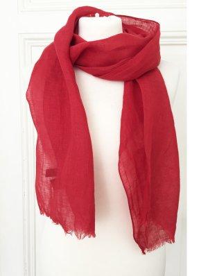 Roter Schal / Tuch aus 100 % Leinen