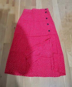H&M Wraparound Skirt white-red