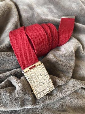 Roter Stoffgürtel mit Strass-Schnalle * Gesamtlänge mit Schnalle 115 cm