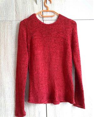 Pullover a maglia grossa rosso-rosso mattone