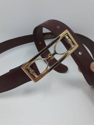Roter Vintage Gürtel von Rene Reveur Paris mit Steigbügel Schnalle in Gold