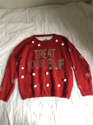 Sudadera navideña rojo oscuro-blanco