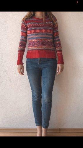 H&M Sudadera navideña rojo oscuro-azul oscuro