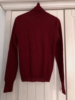 Roter Wollpullover, Rollkragenpullover rot, Wolle