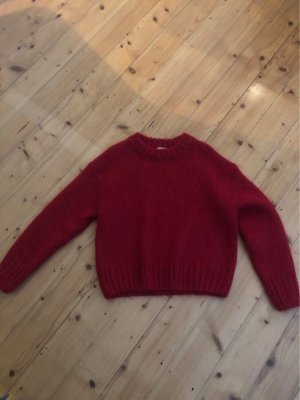 H&M Trend Coarse Knitted Sweater dark red