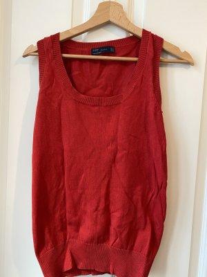 Zara Sweter bez rękawów z cienkiej dzianiny czerwony