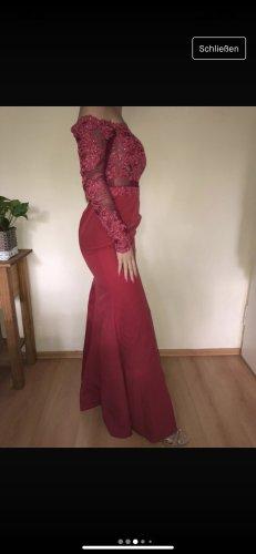 Rotes Abendkleid Ballkleid lang Spitze Schulterfrei